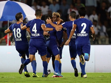 Mumbai City FC players celebrate their goal against NorthEast United FC. ISL