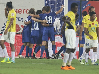 Mumbai City FC players celebrate a goal against Kerala Blasters. ISL
