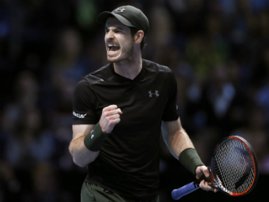 Andy Murray celebrates winning a point against Marin Cilic. AP