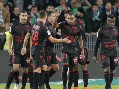 The Nice players celebrate their goal against Saint Etienne. AP