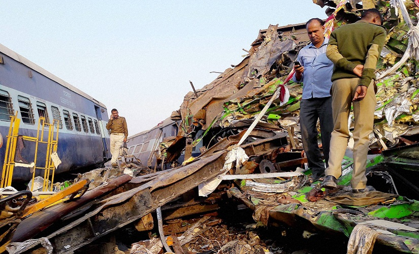 Rescue and relief work underway after the Indore-Patna Express derailed near Kanpur Dehat on Sunday morning. PTI
