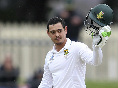 Quinton de Kock celebrates his 100. AP