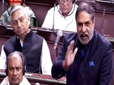 Senior Congress leader Anand Sharma in Rajya Sabha on Wednesday. PTI