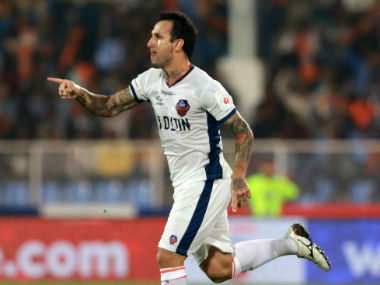 Rafael Coelho celebrates after scoring the only goal of the match. Image courtesy: ISL