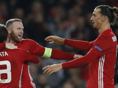 Wayne Rooney and Zlatan Ibrahimovic celebrate. Reuters