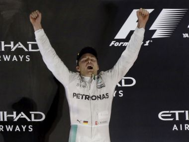 Nico Rosberg celebrates after winning the 2016 world championship. AP