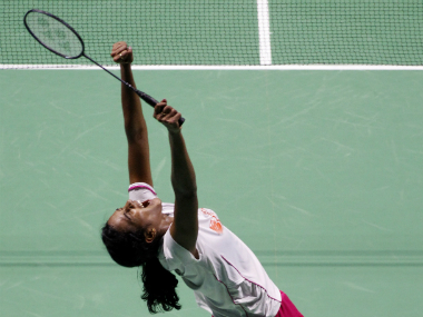PV Sindhu celebrates winning the China Open. AP
