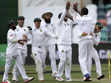 South Africans celebrate after an Australian wicket. AP