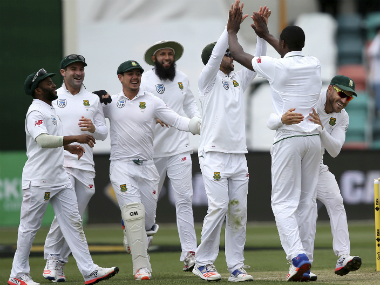 The South Africa team celebrating. AP