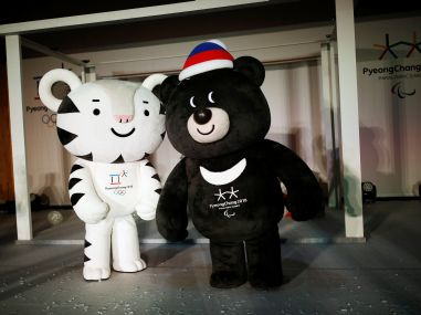 "The mascots for the 2018 Pyeongchang Winter Olympics ""Soohorang"" and ""Bandabi"". Reuters"