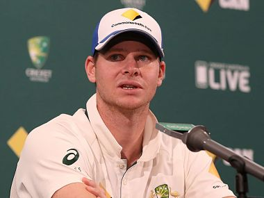 Australian captain Steve Smith at the press conference. Image courtesy: Twitter/@CricketAus