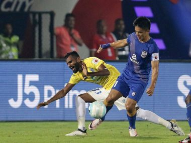Mumbai City FC's Sunil Chhetri during the match against Kerala Blasters. Image Courtesy: Twitter@IndSuperLeague