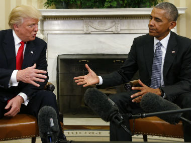 Barack Obama (right) with Donald Trump. Reuters
