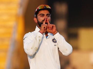 India's Virat Kohli celebrates the dismissal of England's Ben Stokes. Reuters