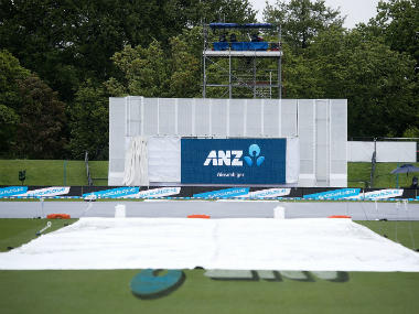 The washed out pitch at Christchurch, where play between New Zealand and Pakistan was abandoned. AFP