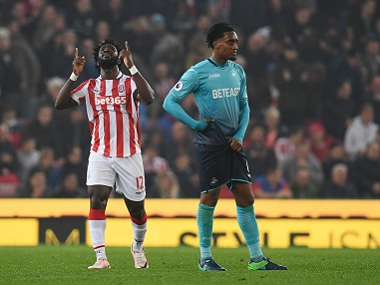 Stoke City striker Wilfried Bony celebrates after scoring against Swansea. AFP