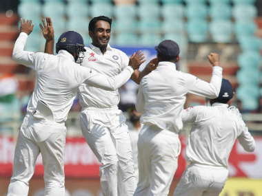 India's Jayant Yadav celebrates taking a wicket with his teammates. AP