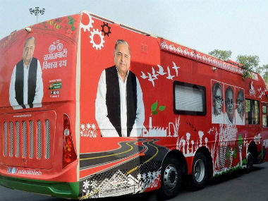The red mercedes bus broke down soon after the rath yatra was flagged off. Twitter @zankrut