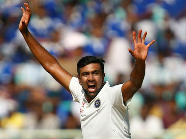 Ravichandran Ashwin appeals in the second Test against England at Visakhapatnam. Reuters
