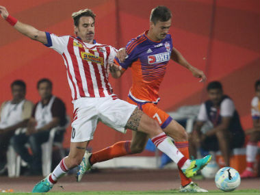 Action between FC Pune City and Atletico de Kolkata at Balewadi on Sunday. ISL