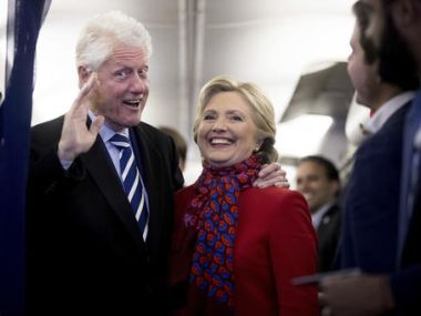 Hillary Clinton with husband Bill Clinton. AP