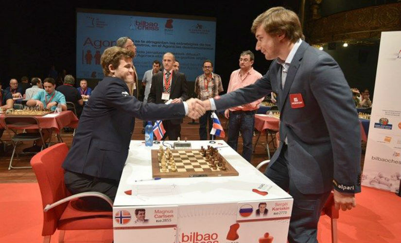 Carlsen (L) and Karjakin at the Bilbao Masters. Image courtesy: Bilbao Chess.