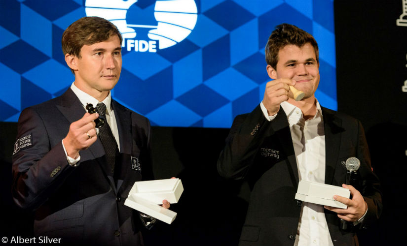 Carlsen gets the white pieces in the first encounter of the 12th game. Image courtesy: Albert Silver.