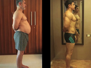Aamir Khan transformed from a fat 97 Kg man to a fir avatar with six-pack abs.