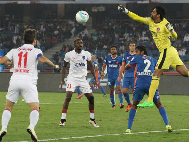Action between FC Goa and Delhi Dy namos. ISL