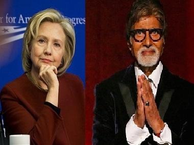 Hillary Clinton (L); Amitabh Bachchan