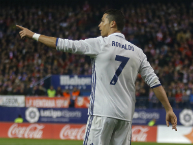 Cristiano Ronaldo celebrates his goal against Atletico Madrid. AP