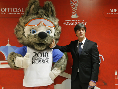 Germany coach Joachim Loew at the Confederations Cup draw in Kazan. Reuters
