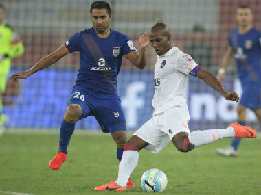 Delhi Dynamos marquee player Florent Malouda in action. Delhi Dynamos