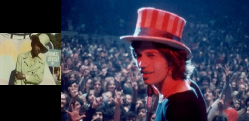 A still of Meredith Hunter; and a still from Gimme Shelter, the documentary that explores the Altamont Free Concert Incident.