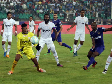 Action between NorthEast United and Chennaiyin FC. ISL