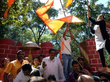 Shiv Sena workers celebrate their election victory. Firstpost/Sanjay Sawant