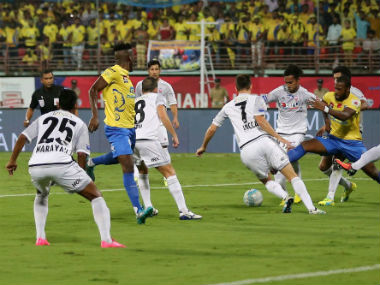 Action between FC Pune City and Kerala Blasters. ISL