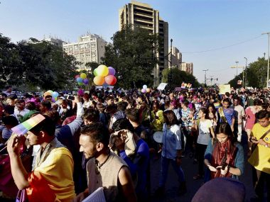 LGBT Community members and supporters during the Delhi Queer Pride March in New Delhi on Sunday. PTI