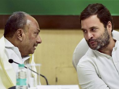 Congress vice-president Rahul Gandhi with senior party leader AK Antony at CWC meeting on Monday. PTI