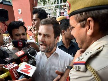 Congress Vice President Rahul Gandhi talks to the media outside RML Hospital after he was not allowed to enter the hospital to meet ex-serviceman Subedar Ram Kishan Grewal's family in New Delhi on Wednesday. PTI