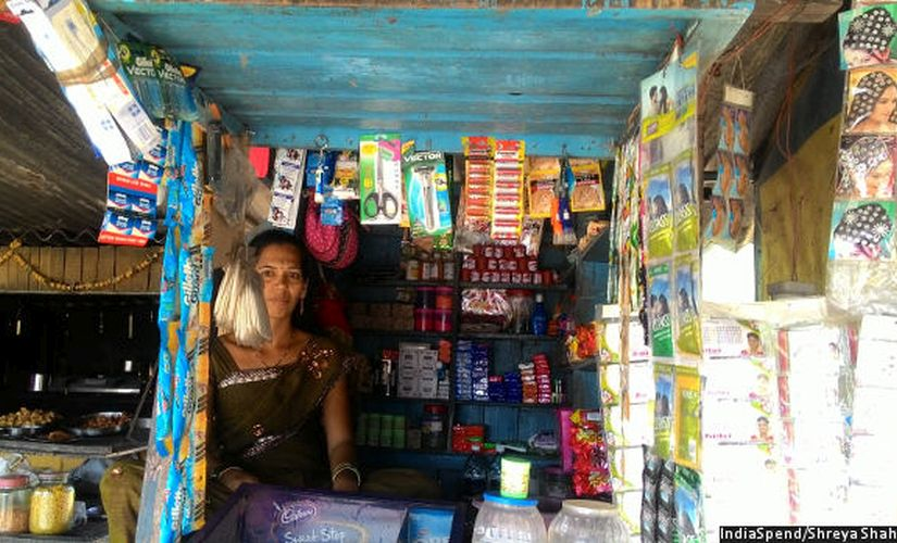 Rasika Lohale, owner of a small shop, says her family hasn't eaten meat in the last few days because her business has reduced about 50% because of a lack of small change. Image courtesy: IndiaSpend