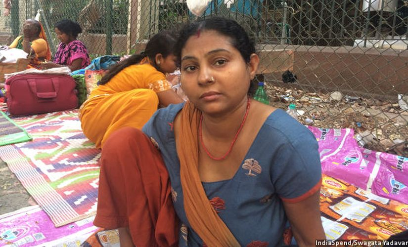 Rani Devi, 34, came to Mumbai's Tata Memorial Hospital, two months ago, to treat her rectal cancer. Her family has a bank account but doesn't earn enough to save. Image courtesy: IndiaSpend