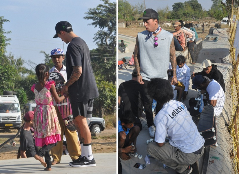 (L) Nyjah interacts with the kids at Janwaar; (R) Nyjah and his brother Kiade fix broken boards at Janwaar Castke