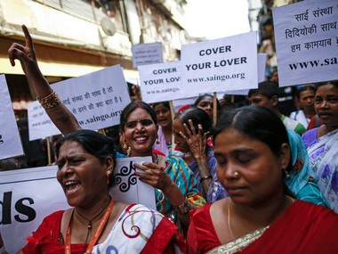 Sex workers mark World AIDS Day in Kamathipura, Mumbai's red light district in 2014. Reuters