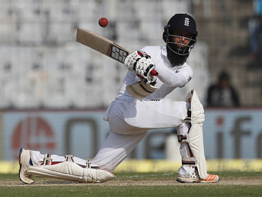 England's Moeen Ali plays a shot during their first day of the fifth Test. AP