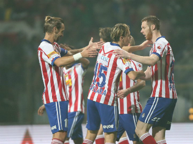 The Atletico de Kolkata players during their match against Kerala Blasters. Twitter/@atletidekolkata