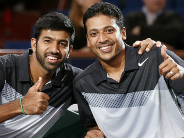 File photo of Mahesh Bhupathi (R) and compatriot Rohan Bopanna. Reuters
