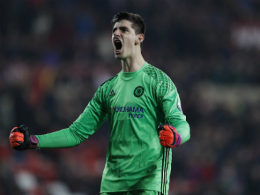 Chelsea's Thibaut Courtois celebrates winning against Sunderland. Reuters
