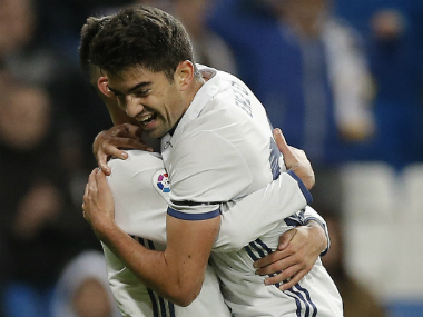 Zinedine's son Enzo Zidane celebrates his goal against Cultural Leonesa. AP