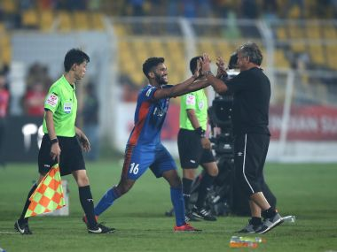 FC Goa's Sahil Tavora celebrates after scoring a thrilling winner. ISL